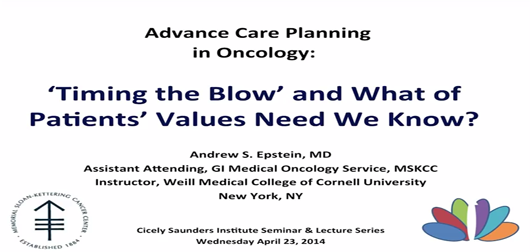 Advance Care Planning in Oncology